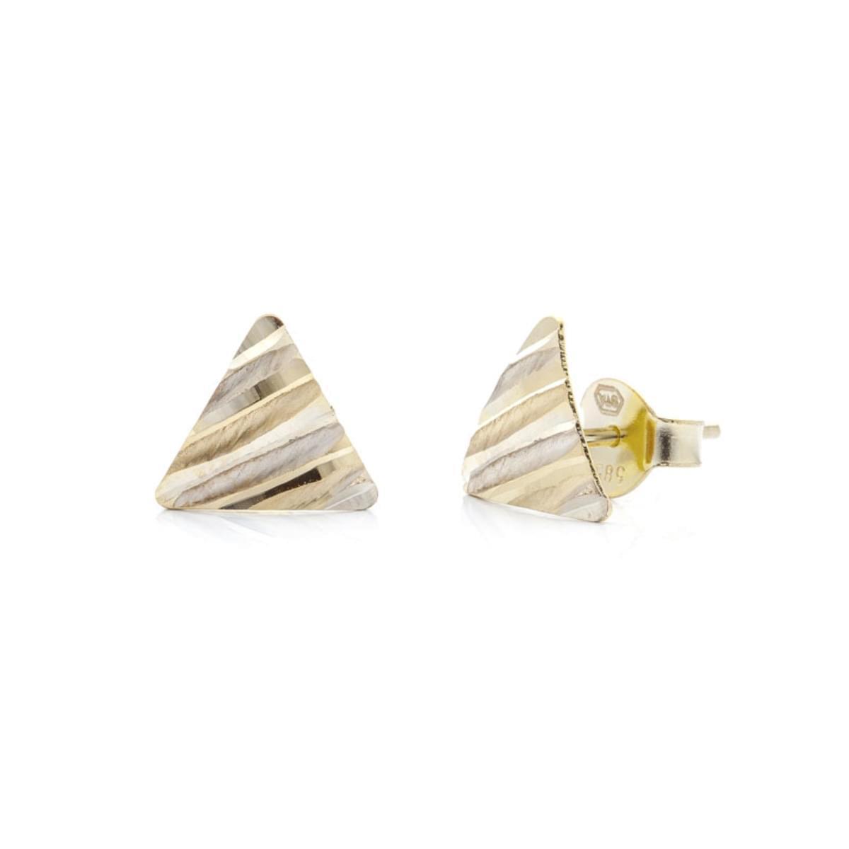 b65216ece Kombinované zlaté náušnice trojuholníky - Silvertime