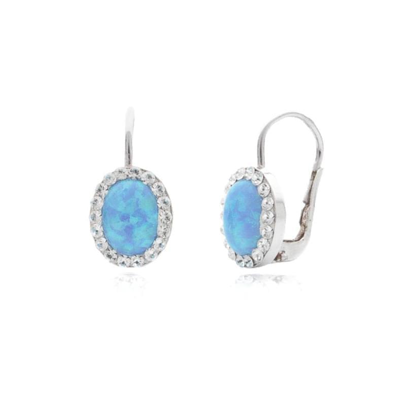 25b25c77c Strieborné náušnice s modrým opálom a Swarovski kamene - Silvertime