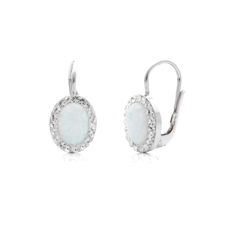 Strieborné náušnice s opálom a Swarovski kamene - Silvertime c05620034fe