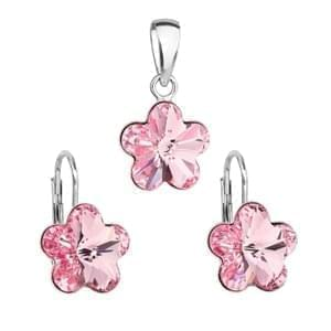 Súprava sa Swarovski Elements kvetinka 39143.3 light rose